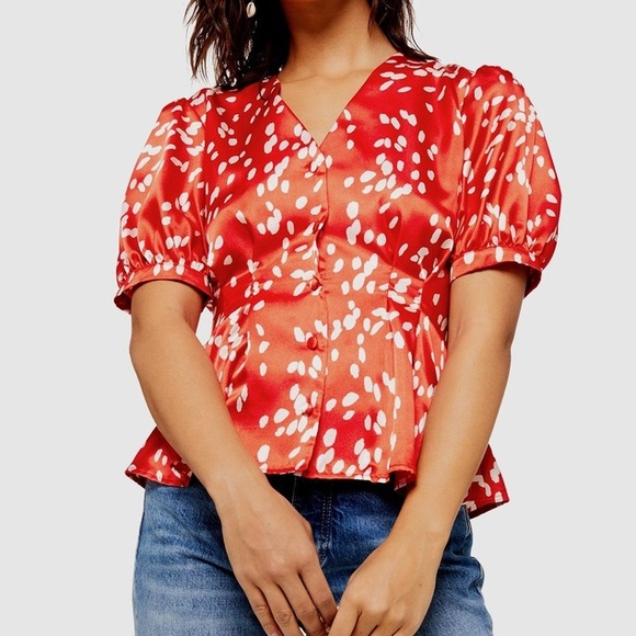 Topshop Tops - Topshop Red Blouse